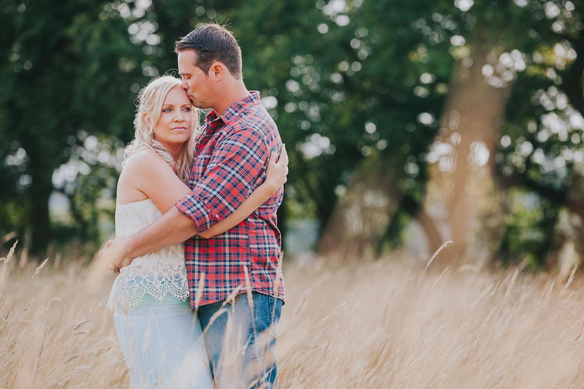 couple photo in sunset field