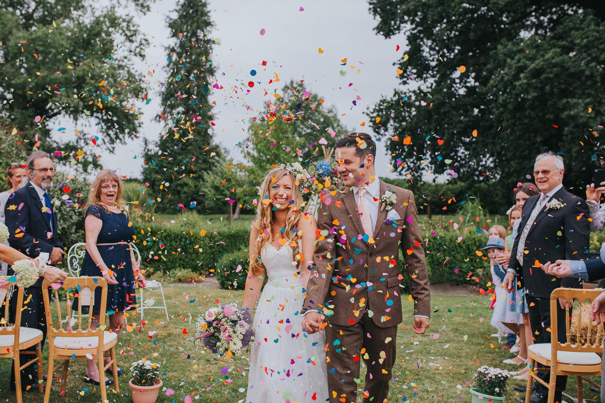 natural wedding confetti moment