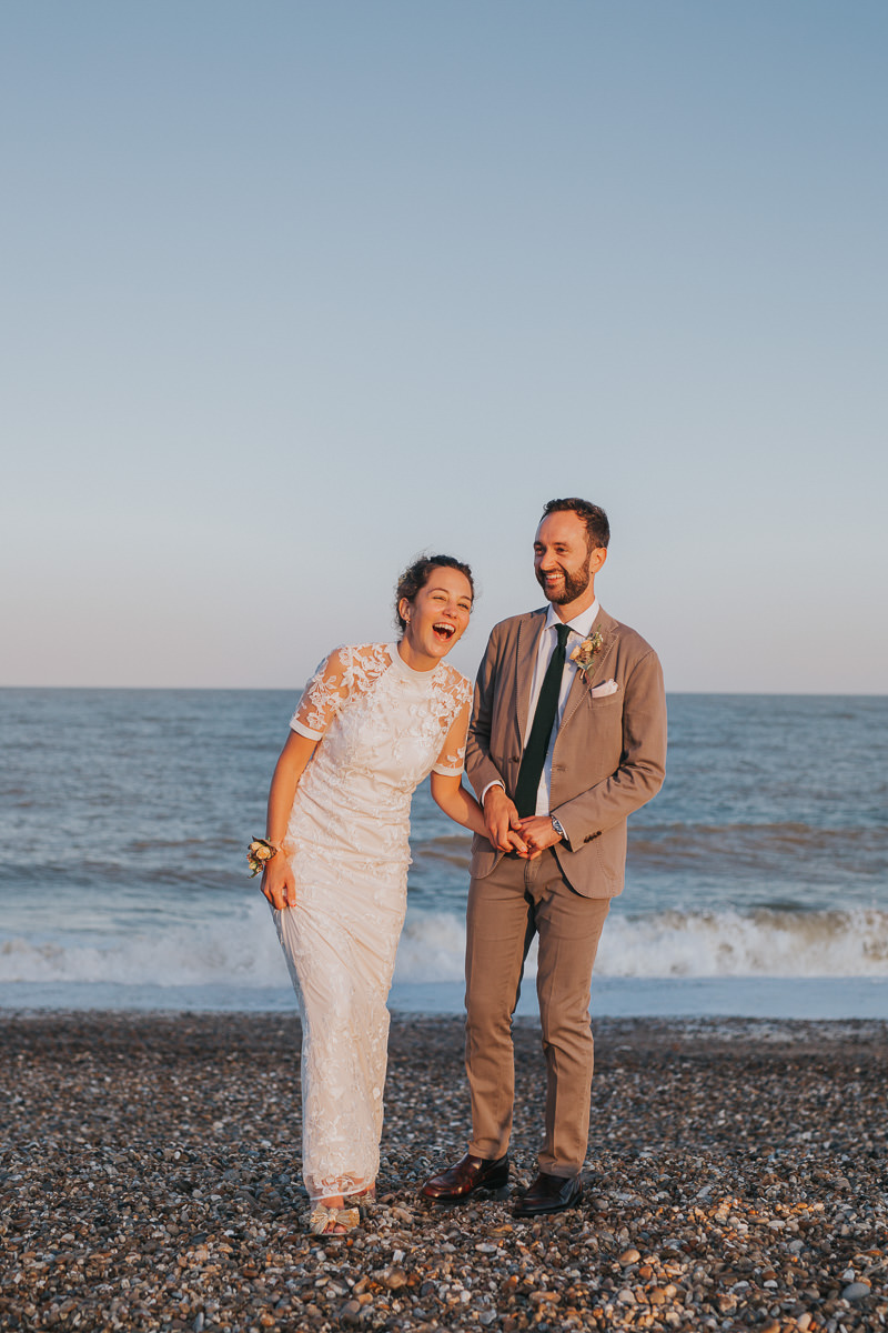 sunset beach wedding portrait