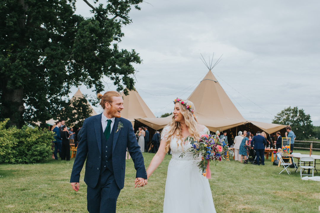 bride and groom at tipi wedding sussex