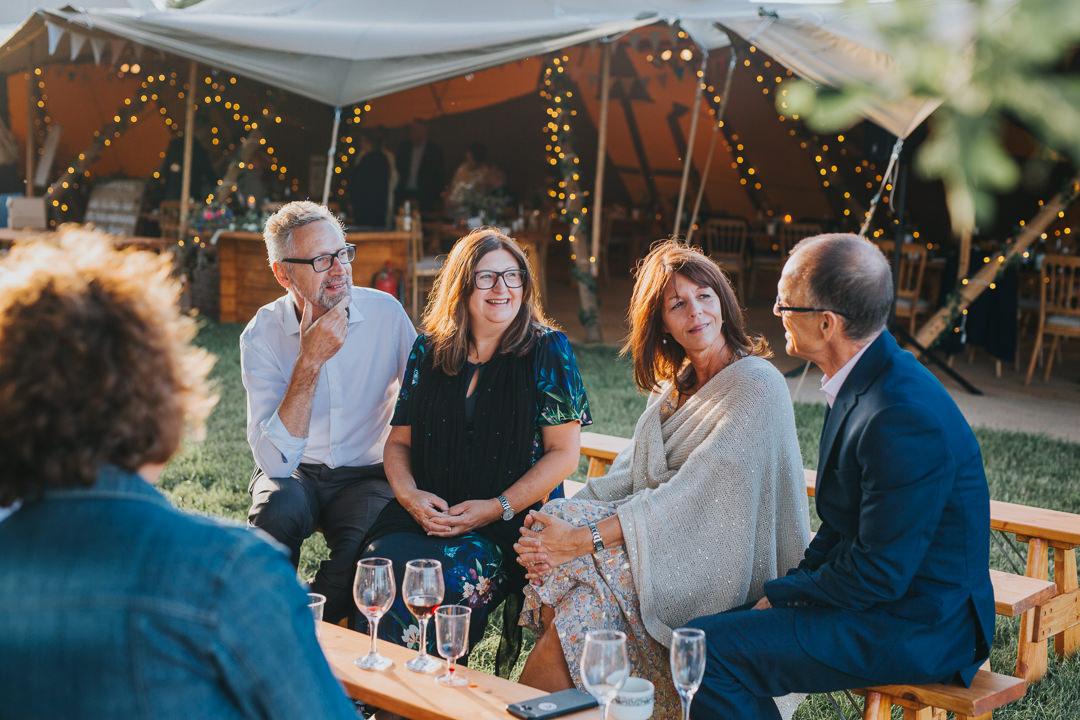 guests enjoying wootton farm estate wedding