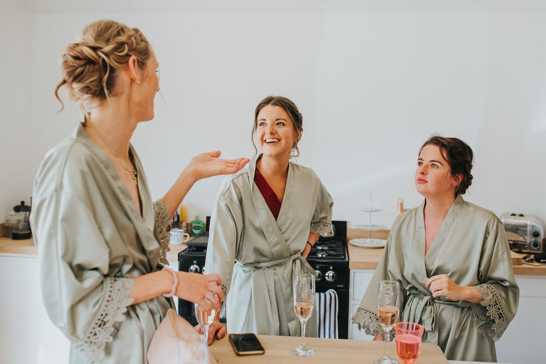 bridesmaids getting ready at wootton farm estate