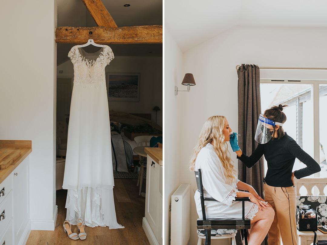 bride getting ready at wootton farm estate