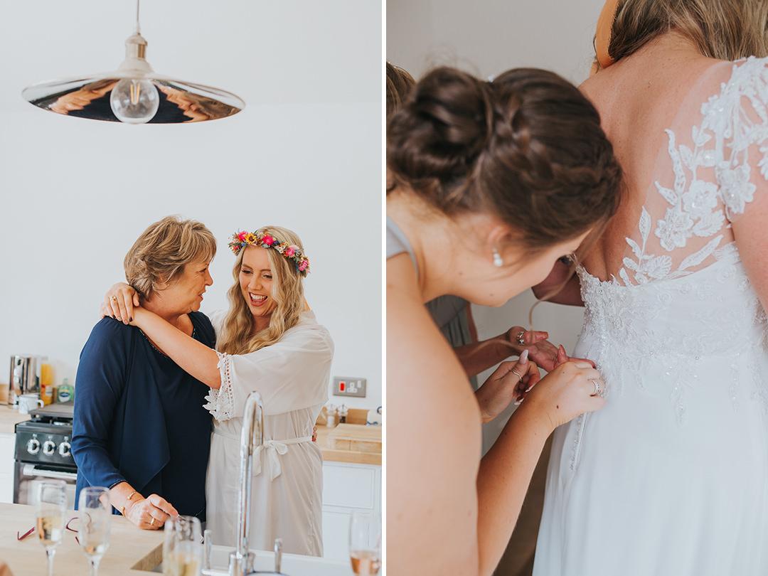 girls getting ready for wedding