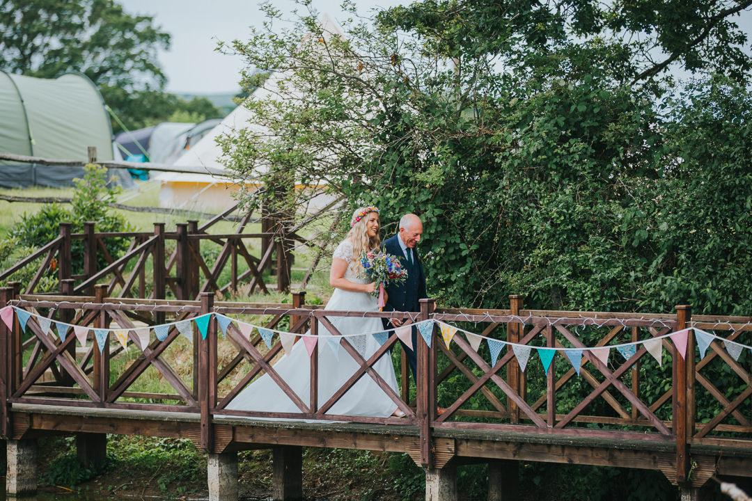 bride arriving at wootton farm estate
