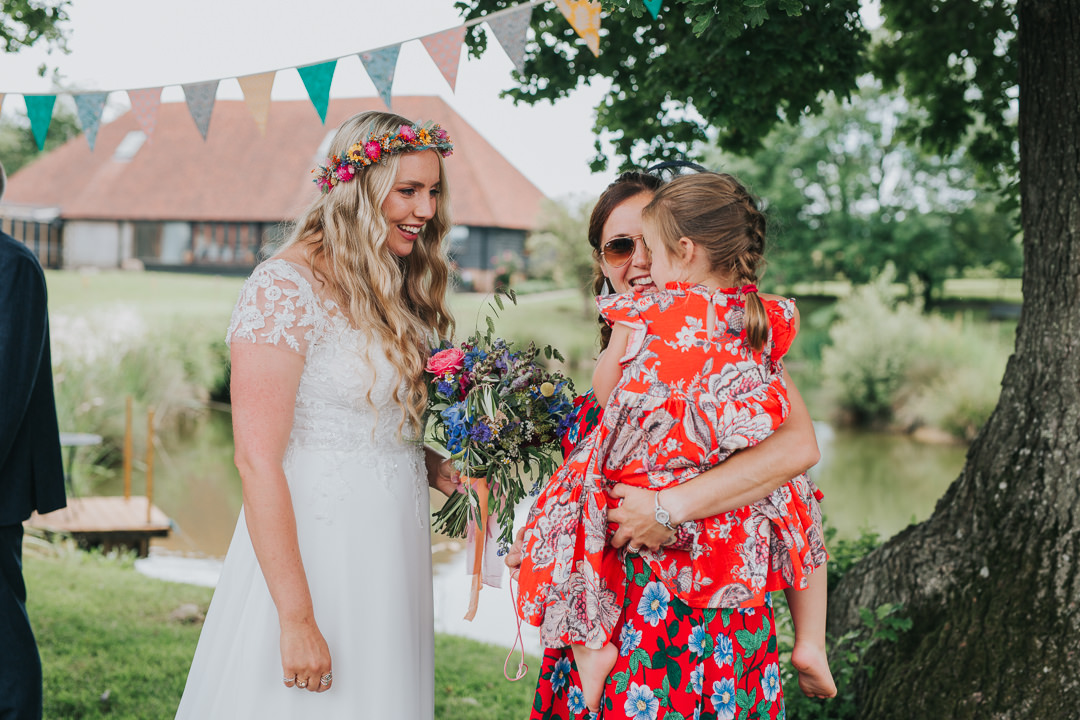 bride with guests at wootton farm estate