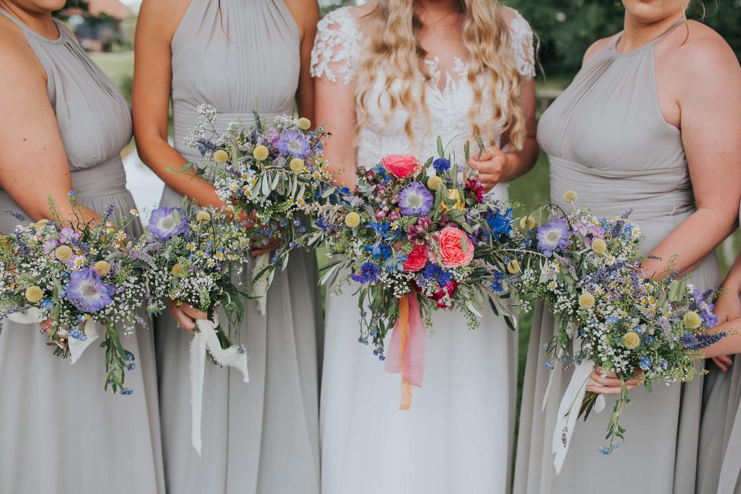 rustic colourful wedding flowers