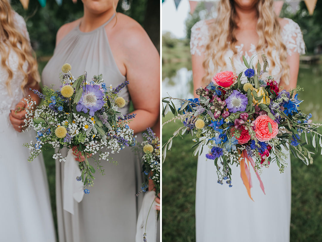 colourful festival style wedding bouquets
