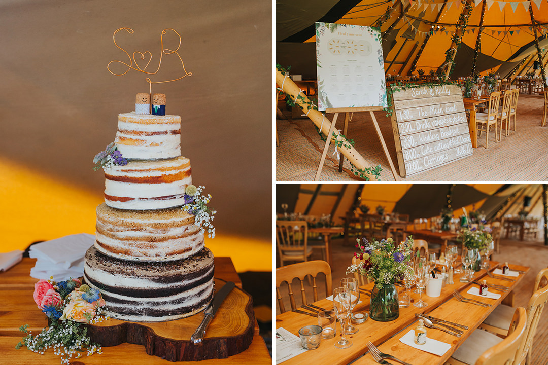 wedding cake at tipi wedding