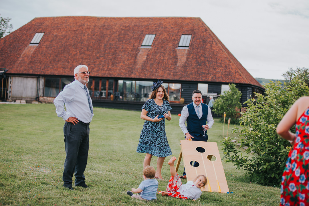 lawn games at wootton farm estate wedding